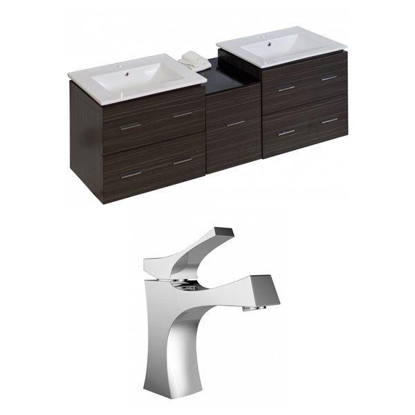 "American Imaginations Xena Vanity Set  - Double Sink - 61.5"" - Gray"