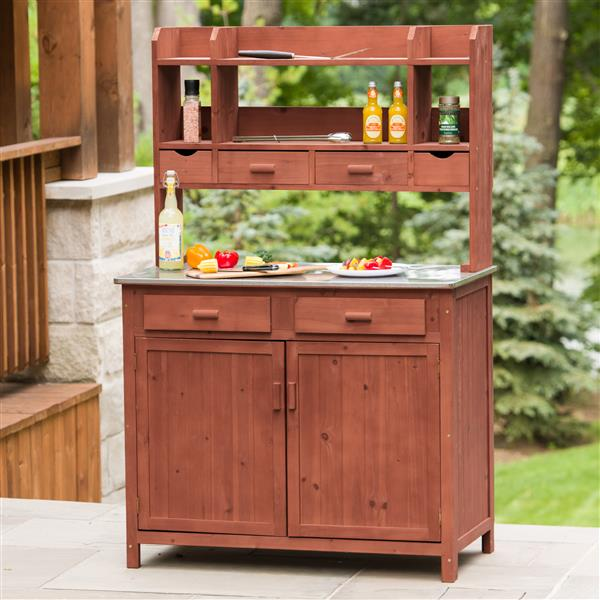 Leisure Season Wooden Outdoor Kitchen Prep Station