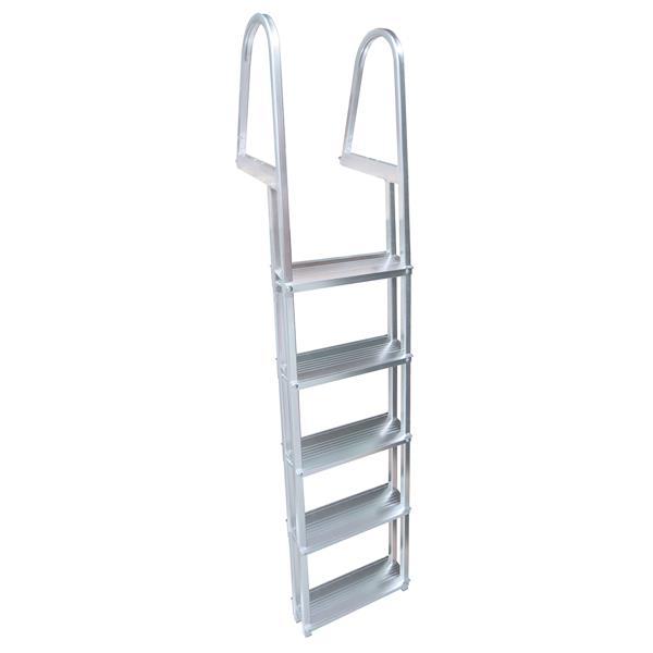 """Échelle de quaie, 5 marches, 42"""", aluminium, gris"""