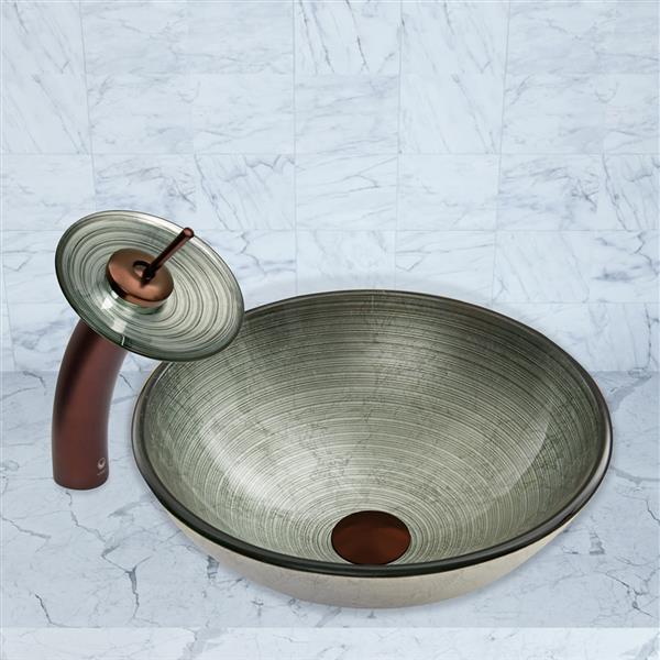 VIGO Glass Vessel Bathroom Sink and Waterfall Faucet - Silver