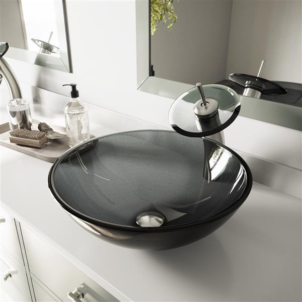Ensemble de vasque de salle de bain et robinet, noir