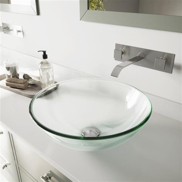 VIGO Glass Vessel Sink and Wall Mount Faucet - Crystalline