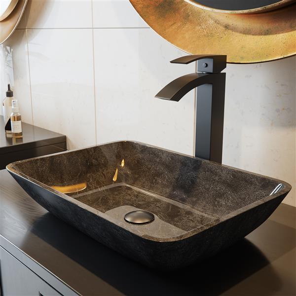 Duris Vessel Bathroom Faucet In Matte Black