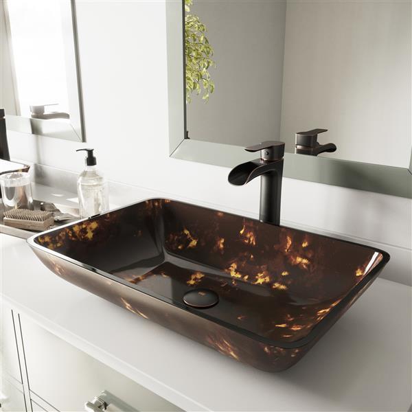 VIGO Glass Vessel Bathroom Sink - Brown
