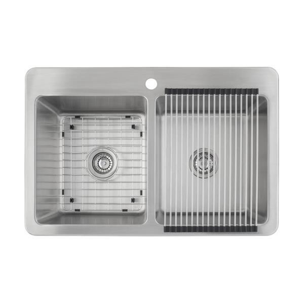"""Ancona Valencia Dual-Mount Double Kitchen Sink - 33"""""""