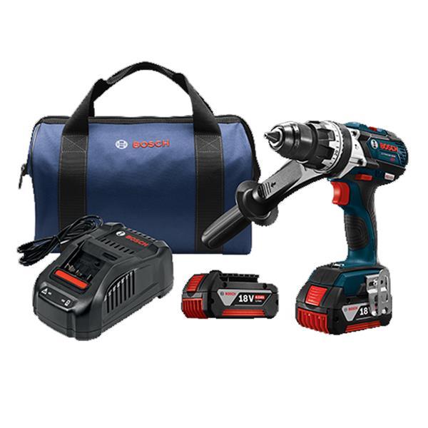 """Bosch Hammer Drill/Driver Kit - 18 V - 1/2"""""""