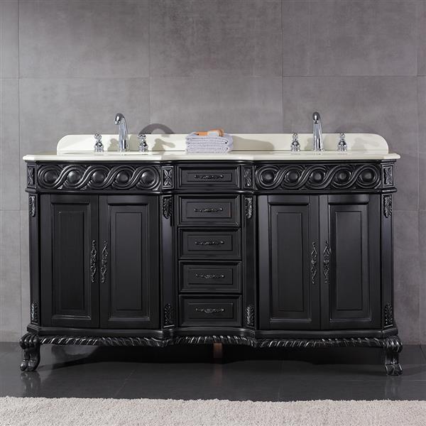 OVE Decors Trent Antique Black Vanity with Marble Top - 60''