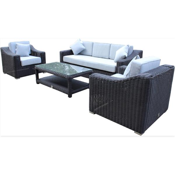 WD Patio Wynn 3-Seat Conversation Set - Black/Grey