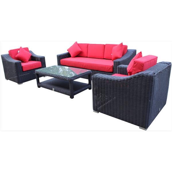 WD Patio Wynn 3-Seat Conversation Set - Black/Red