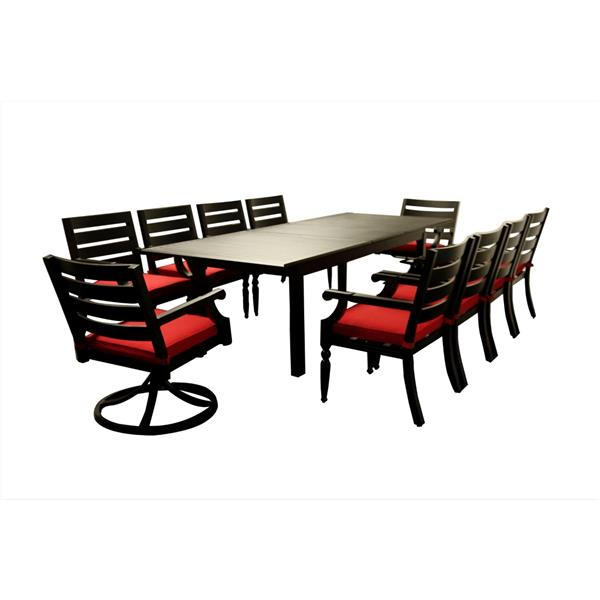 WD Patio Royalton Expandable Table - Aluminum - Brown/Red
