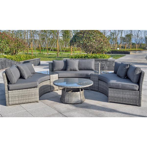 Henryka 6-Piece Exterior Sofa Set - Grey