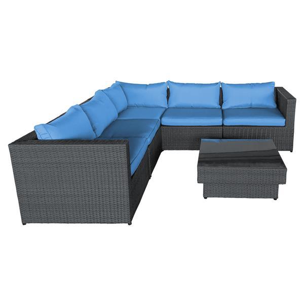 Henryka 6-Piece Outdoor Sofa Set - Blue and Black