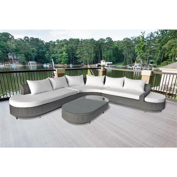 Henryka 4-Piece Outdoor Sofa Set - Grey and White