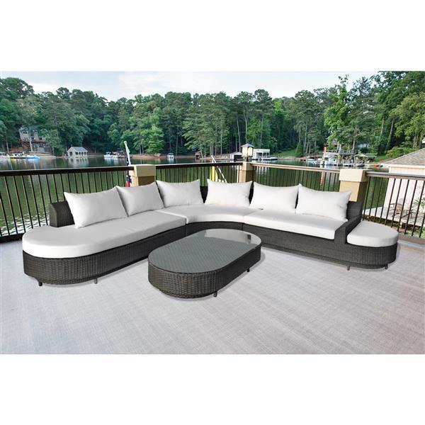 Henryka 4-Piece Outdoor Sofa Set - Black and White