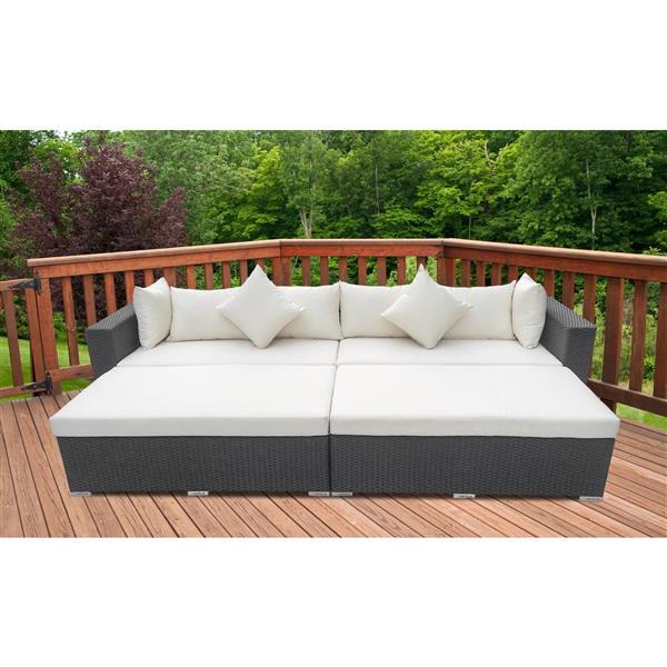Henryka 4-Piece Exterior Sofa Set - Black and White