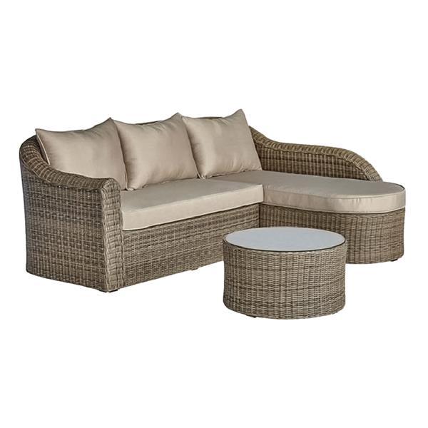Henryka 3-Piece Exterior Sofa Set - Brown and Beige