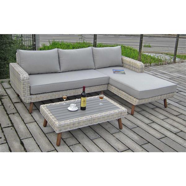 Henryka Outdoor 3-Piece Conversation Sofa Set - Grey