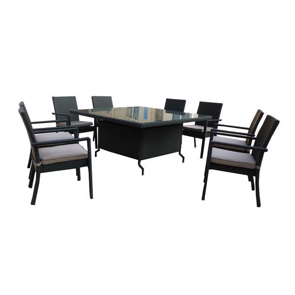 Henryka 9-Piece Outdoor Dining Set - Grey