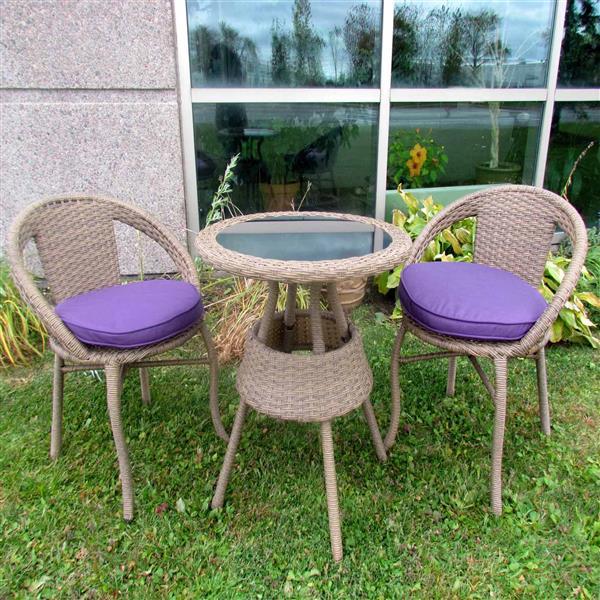 Henryka 3-Piece Outdoor Bistro Set - Beige and Purple