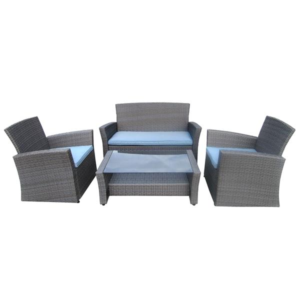 Henryka 4-Piece Outdoor Conversation Set - Grey and Blue