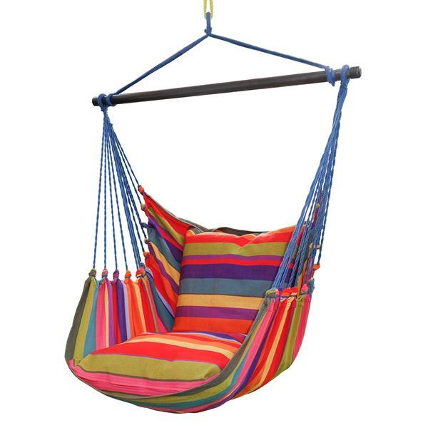 Henryka Large Hammock Swing with Cushions- Multicolour - Blue Ropes