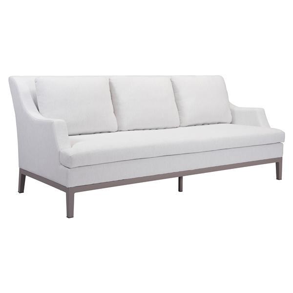 Zuo Modern Ojai Outdoor Sofa - 36.4-in x 84.3-in - Champagne White