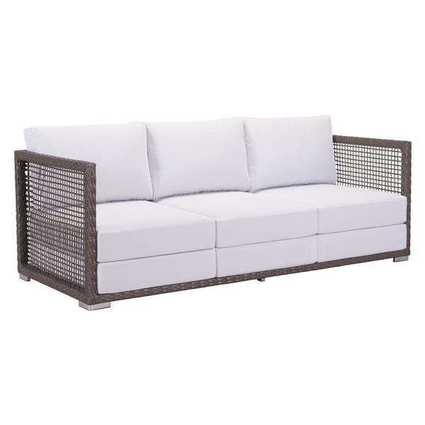 Zuo Modern Coronado Outdoor Sofa - 30-in x 74.8-in - Brown and Light Grey