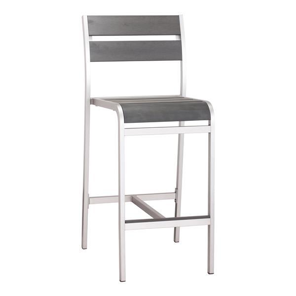 Megapolis Bar Armless Chair - Brushed Aluminum - Set of 2