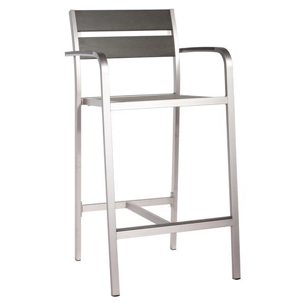 Megapolis Bar Arm Chair - Brushed Aluminum - Set of 2