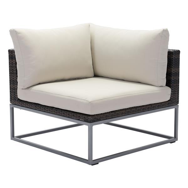Module de fauteuil extérieur en angle Malibu de Zuo Modern, 18 po x 33 po, brun et beige
