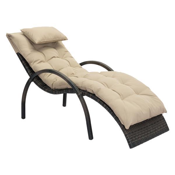 Zuo Modern Eggertz Beach Chaise Lounge - Brown and Beige