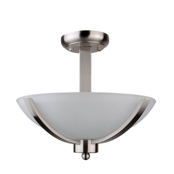 Whitfield Lighting Semi-Flush Mount Light - 2 Lights - 13-in x 12-in - Stainless Steel