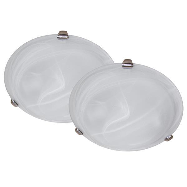 Whitfield Lighting Flush Mount Light - 3 Lights - Satin Stainless Steel - Set of 2