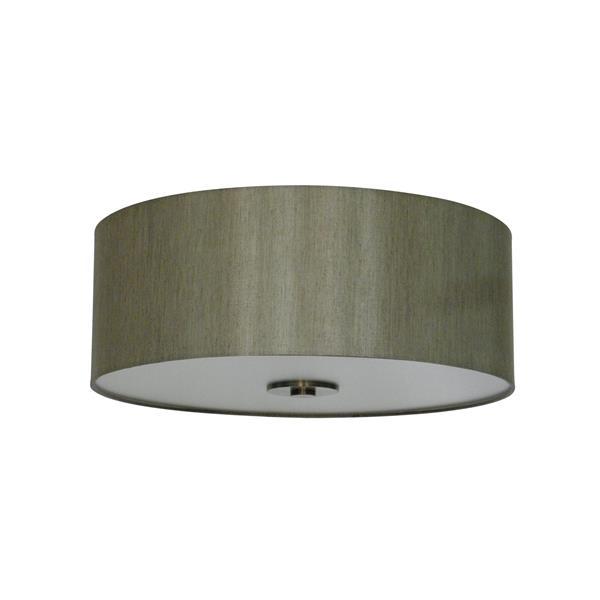 Whitfield Lighting Modena Flush Mount Light - 3 Lights - 5-in x 16-in - Grey Fabric