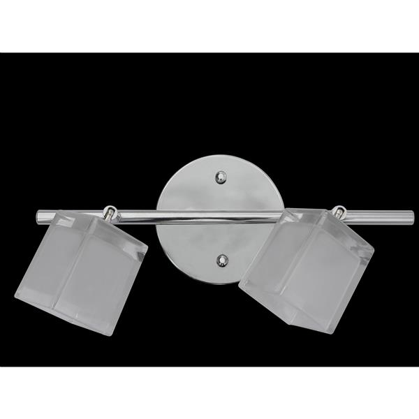 Whitfield Lighting Vanity Track Light - 2 Lights - 13-in - Chrome - Frosted Glass