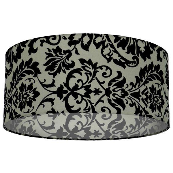 Whitfield Lighting Modena Lamp Shade - 16-in x 7-in - Black/Grey Damask Pattern