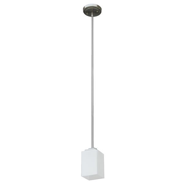 Whitfield Lighting Pendant Light - 1 Light - 7.6-in - Satin Steel - White Glass