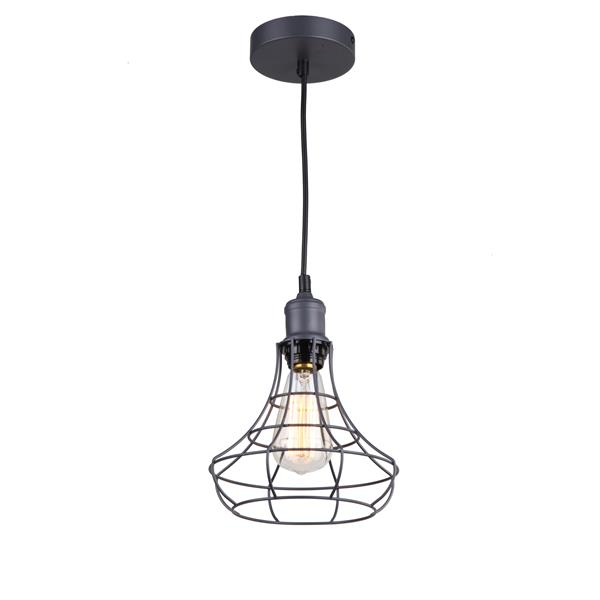 Whitfield Lighting 1-Light Pendant Light - 7-in x 8.3-in - Dark Grey