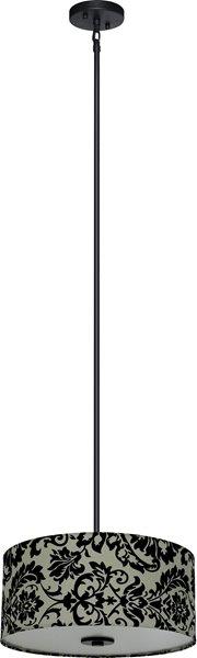 Whitfield Lighting Modena 3-Light Chandelier - 7-in x 16-in - Grey/Black