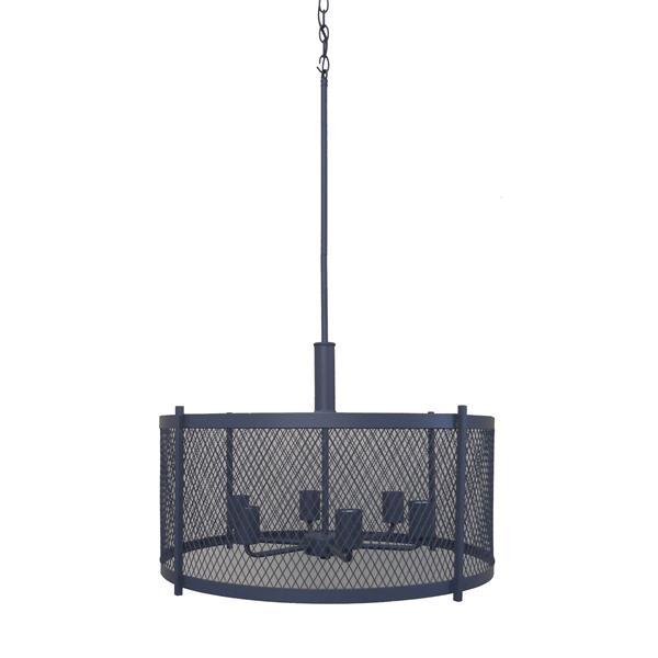 Whitfield Lighting Industrial Chandelier - 6 Lights - 15-in - Dark Grey