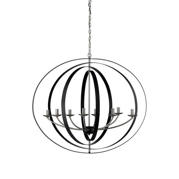 Whitfield Lighting Erinne Chandelier - 8 Lights - 31-in - Black/Satin Steel