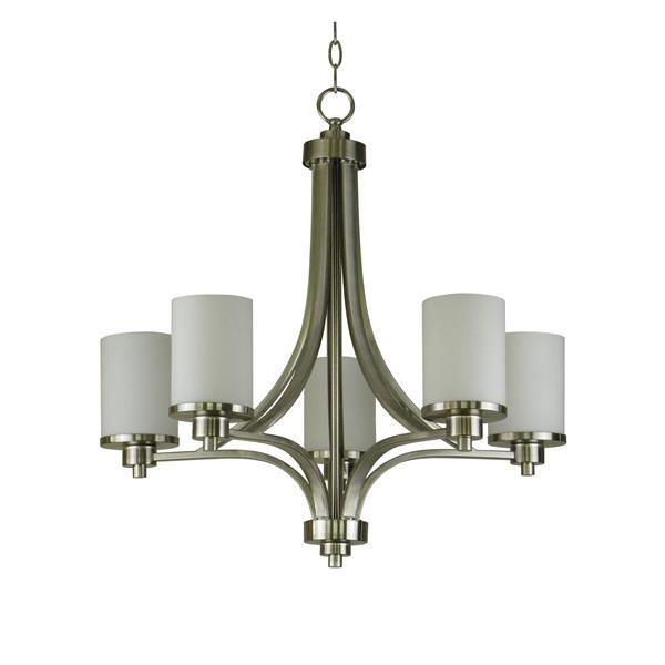 Whitfield Lighting Iris Chandelier - 5 Lights - 24-in - Satin Steel