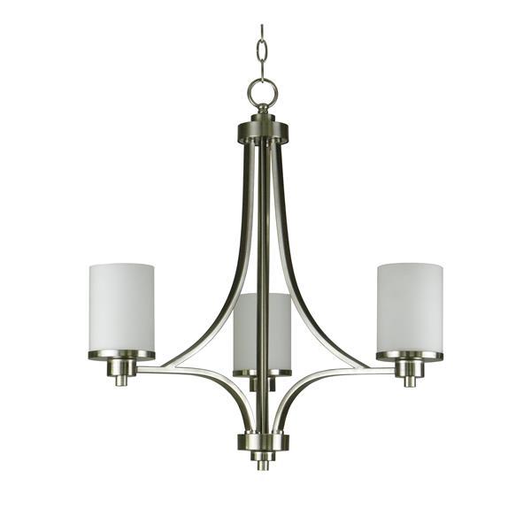 Whitfield Lighting Iris Chandelier - 3 Lights - 24-in - White Shaded Glass