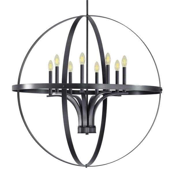 Whitfield Lighting Gianna Chandelier - 8 Lights - 36-in - Dark Grey