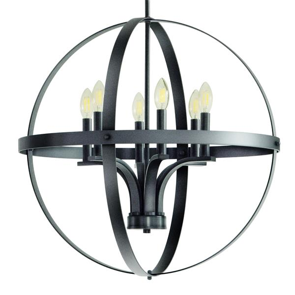 Whitfield Lighting Gianna Chandelier - 6 Lights - 24-in - Dark Grey