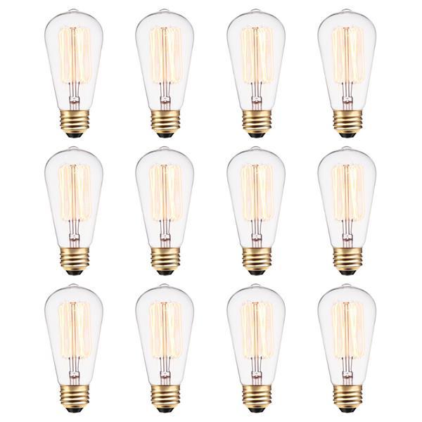 Ampoules Edison incandescentes S60, 60 W, paquet de 12