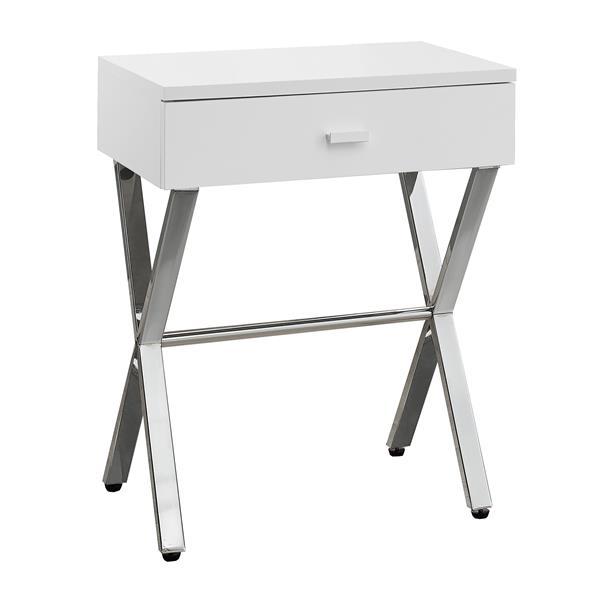 "Table d'appoint, 12"" x 22,25"", composite, blanc"