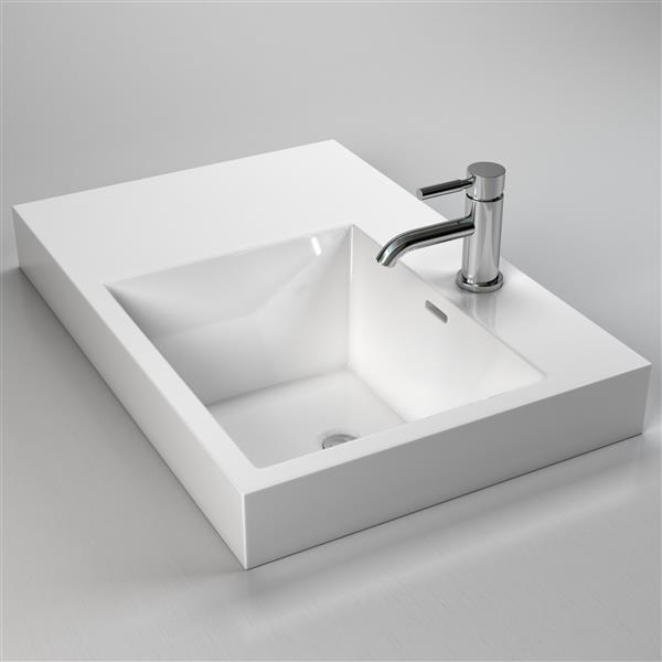 Lavabo rectangulaire avec trop-plein intégré, blanc