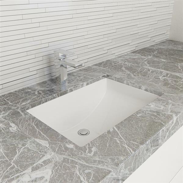 Cantrio Koncepts Rectangular Undermount Bathroom Sink with Overflow