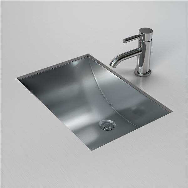 Cantrio Koncepts Stainless Steel Rectangular Undermount Bathroom Sink Ms 012 Reno Depot